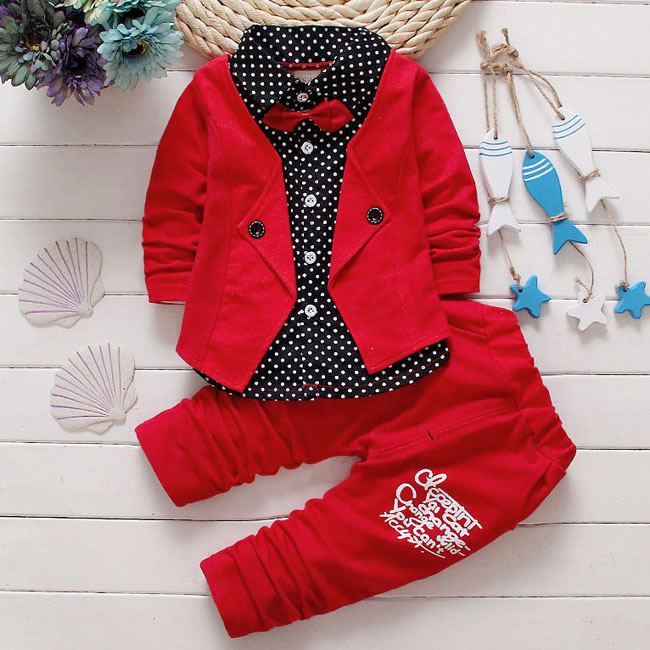 Formal Bow Tie Set For Baby Boy Clothing Costume Autumn Kids Toddler Tracksuit Dot Shirt+Pant 2 Piece Suit Clothes 1-4 Year