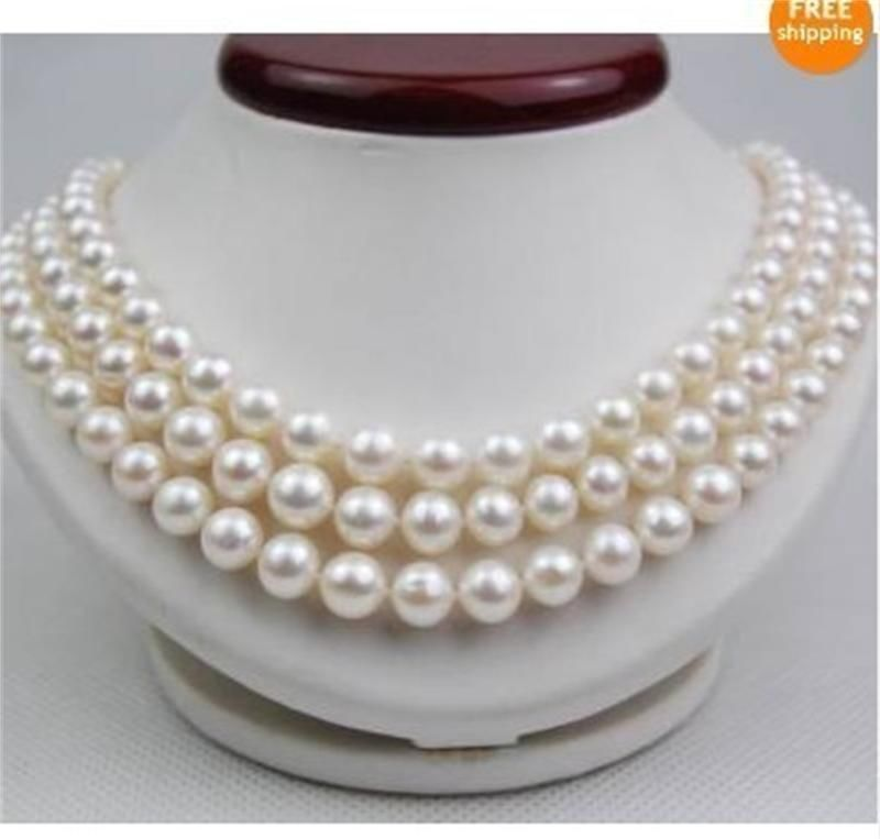 HOT## Wholesale FREE SHIPPING >>> Natural 9-10mm Australian south sea white Pearl Necklace 48inch