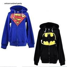 New Unisex black and blue suitable for superman, batman hoodie  mens women sweatshirt cosplay hoodies