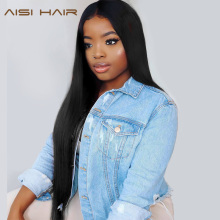 AISI HAIR Long Straight Mermaid Black Color Synthetic Lace Front Wigs Middle