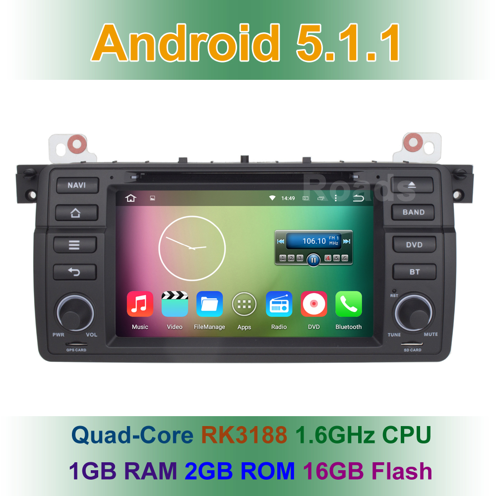 Quad core Android 5.1.1 Car DVD Player GPS for BMW/E46/M3/Rover 75 with Radio WiFi Bluetooth 1024*600