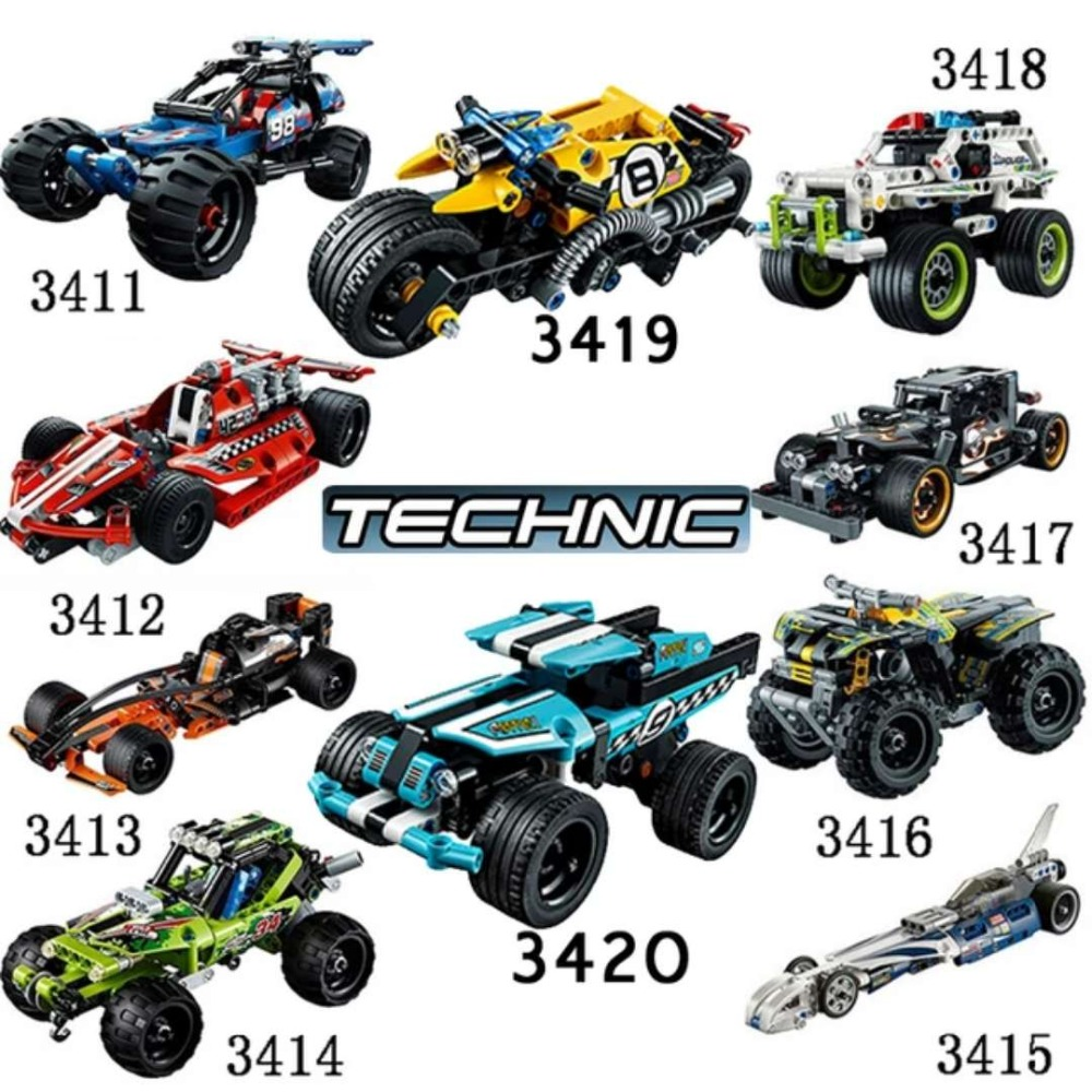 Decool 3411-3420 Racing Car 2 in 1 warrior Model building block sets bricks TOYs FIT for lepin TECHNIC for lego minifigure 608pcs race truck car 2 in 1 transformable model building block sets decool 3360 diy toys compatible with 42041