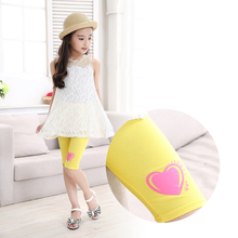 Fashion Summer Modal Pants Printing Heart Short Legins Girls Toddler 2-8Y Little Baby Girls Leggings Kids Yellow Capris Leggings