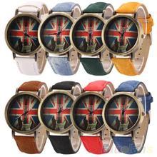 Men's Women's Vintage Bronze Denim UK Flag Guitar Analog Quartz Dress Wrist Watch 1PX1 235O