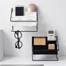 Desktop Wrought Iron Glasses Frame Household Debris Stationery Storage Rack Wall Housekeeper Accessory Hanging Pipe Hooks Box