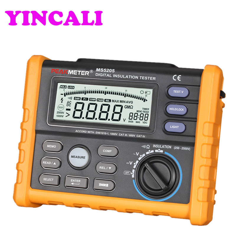 Newly Insulation Meter Analog and Digital 2500V Insulation Resistance Tester MS5205 megger meter 0.01~100G Ohm with Multimeter цена