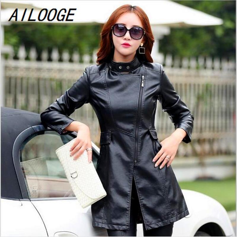 AILOOGE Winter Women   Leather   Jacket Fashion Slim Patchwork Long Female Jacket High Quality PU Motorcycle Coat Plus Size M-5XL