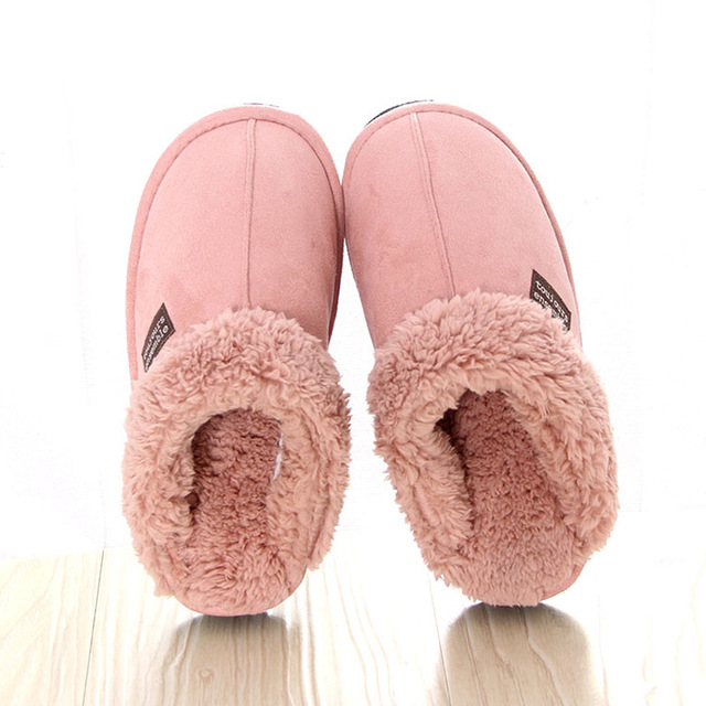 43cf13b344f5 Fleece Slippers Men s Fur Indoor House Shoes Women Winter Warm Footwear 3  Colors Beige Pink Brown Asian Size 35-42 Fit EU 35-41