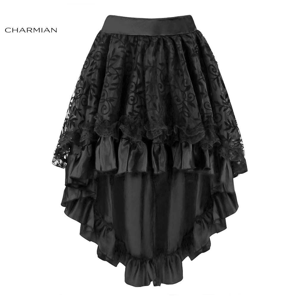 ff9b90ee55f Charmian Women s Steampunk Gothic Vintage Skirt Black Floral High Low Skirt  Sexy Wedding Party Lace Skirt