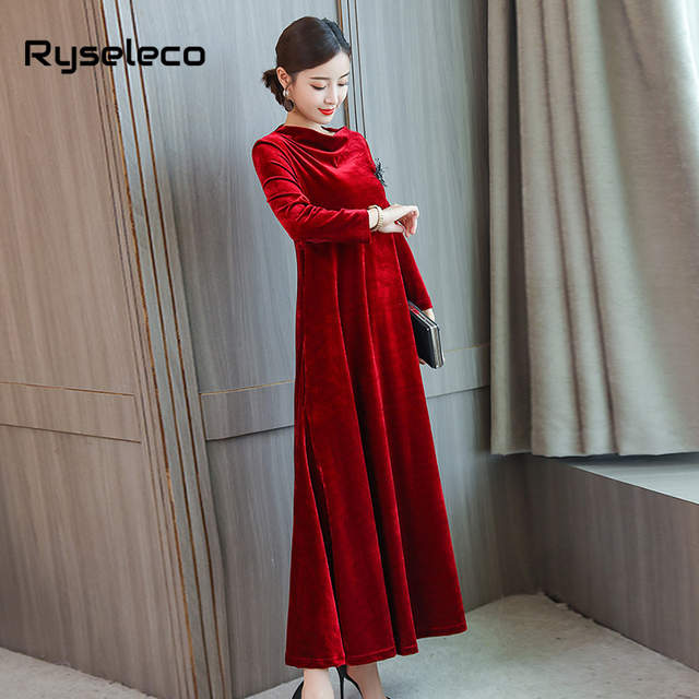 f259322db4 US $24.02 49% OFF|Female Loose Plus size Wine Red Velvet Long Sleeve Maxi  Dresses Mother Women's Elegant Beading Flare Casual Party Oversize Dress-in  ...
