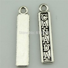 Free Shipping 50Pcs Antique Silver Canada Charms Pendants for Jewelry Making charm Handmade DIY 25*5mm(China)