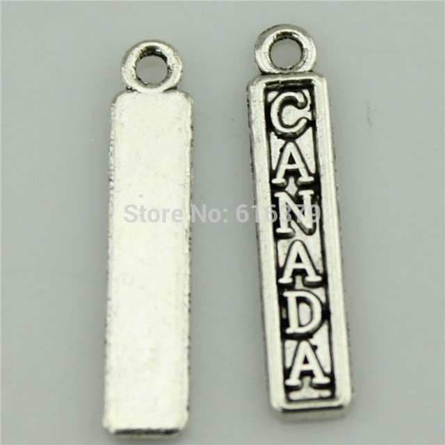 Free Shipping 50Pcs Antique Silver Canada Charms Pendants for Jewelry Making charm Handmade DIY 25*5mm