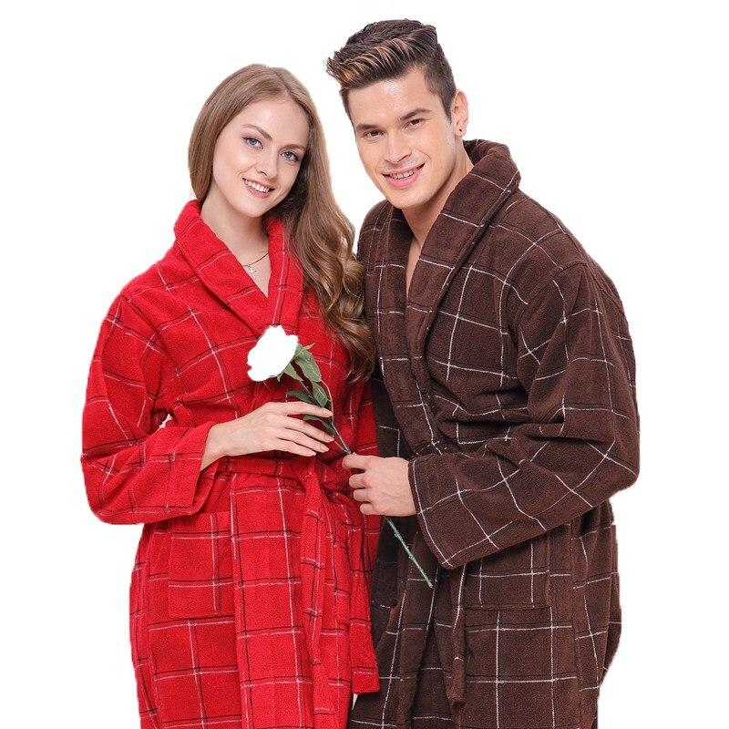 Autumn winter bathrobes for women men lady s long sleeve towel fleece robe female male sleepwear