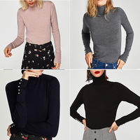 Spain S New Women S Single Season Six Color Pearl Decorative Sleeve Shirt Polo Neck Sweater