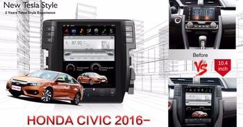 Tesla Vertical Screen Android system Car Radio DVD GPS Navigation for Honda Civic 2016 2017 2018 Support 3/4G Network map camera