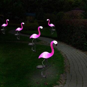 Neue LED Solar Flamingo Stake Licht Laterne Solar Powered Pathway Lichter Dekorative Außen Rasen Yard Lampe Für Garten Terrasse