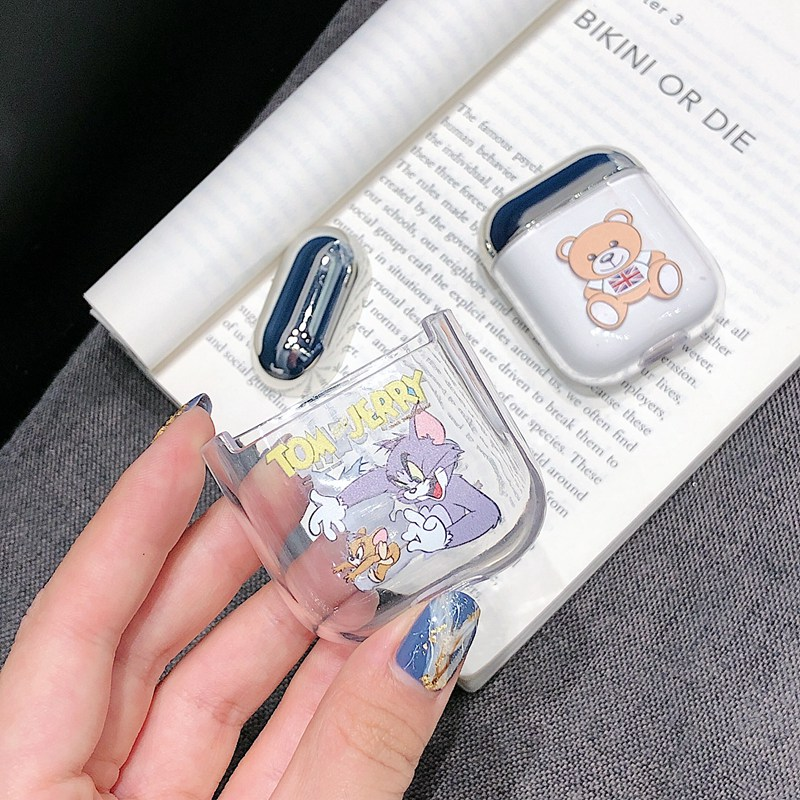 PC Earphone Case for Airpods 2 Cover Cute Cartoon Transparent Earphone Cover for Airpods 1 Case Wireless Charging Box Cases