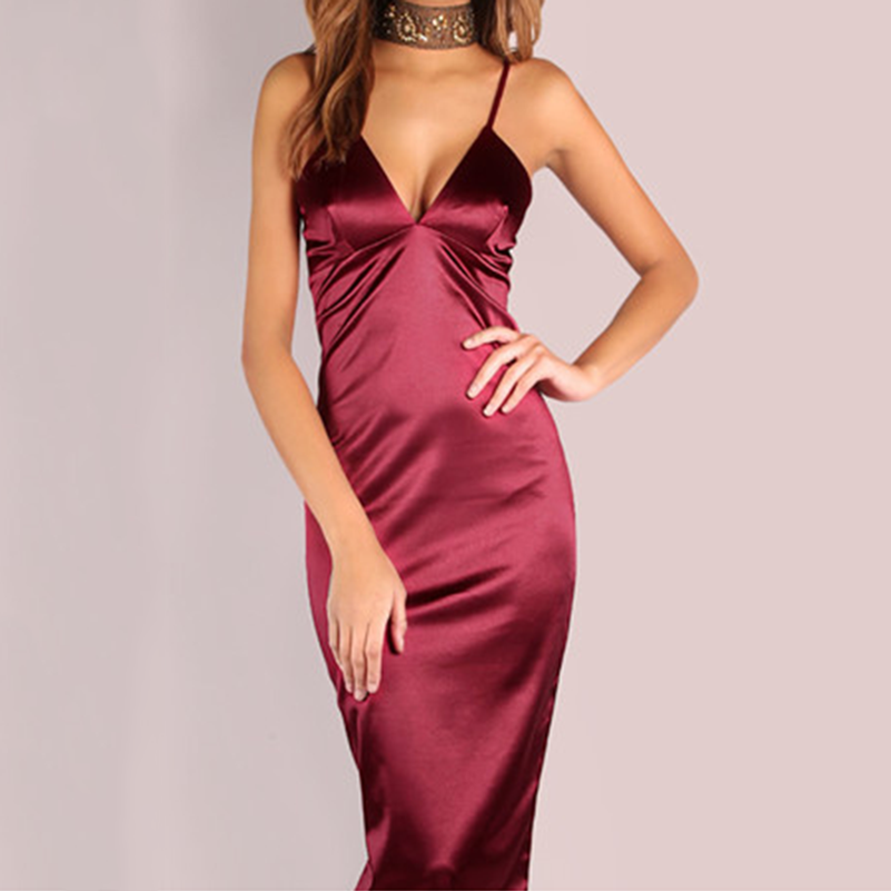 961864eaec4be Burgundy Satin Party Club Dress 2018 Deep V Neck Women Summer Dresses Sexy  Bodycon Strap Ruched Ladies Midi Slip Dress Vestidos