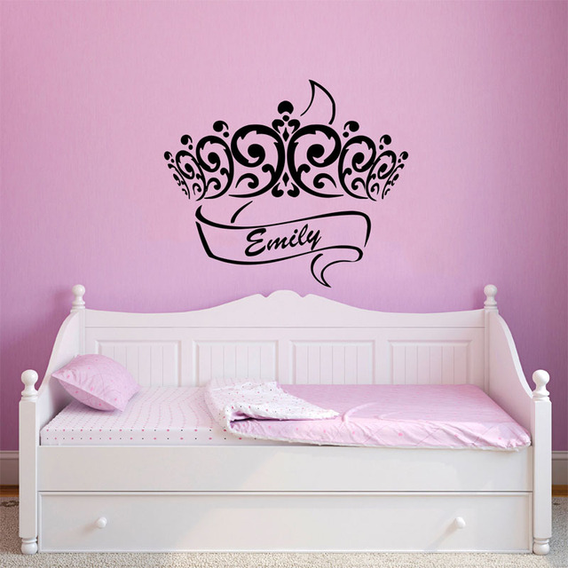 Custom Made Personalized Princess Crown Princess Wall Stickers Baby Girls  Room Wall Vinyl Decor