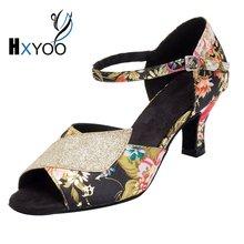 HXYOO 2017 Instock Women Latin Dance Shoes Salsa Ballroom Shoes Ladies Peep Toe Satin Soft Sole Red Flower Black Gold WK009