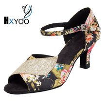 HXYOO 2018 Instock Women Latin Dance Shoes Salsa Ballroom Shoes Ladies Peep Toe Satin Soft Sole