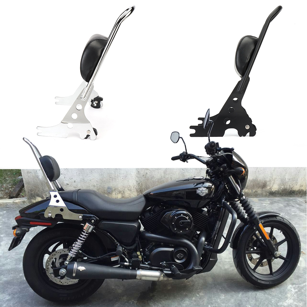Detachable Sissy Bar Backrest Cushion Pad Black For Harley Sportster XL 883 1200