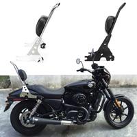For Sportster XL883 XL1200 XL 883 1200 48 Motorcycle Luggage Rack Sissy Bar Rear Passenger Backrest Cushion Pad Black Chrome