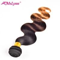 T1B/4/27 Ombre Saç Paketler Vücut Dalga Brezilyalı Saç Örgü Demetleri 3 Ton Siyah Kahverengi Sarışın İnsan Saç Mslynn Olmayan Remy saç