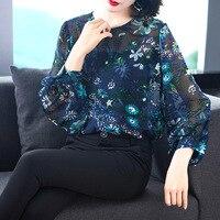 100% шелк печати o образным вырезом свободные Пуловеры Блузка 2019 новый фонарь рукав женщин весна лето рубашки