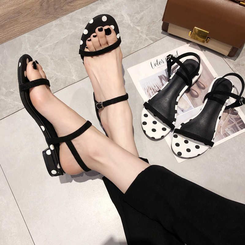 Schoenen vrouwen 2019 zomer nieuwe golf punt woord met vierkante kop lage hak dik met sandalen vrouwen casual comfortabele ondiepe schoenen