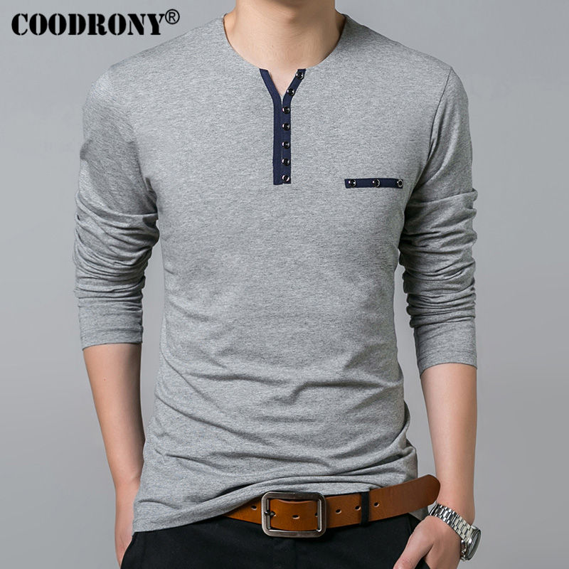 COODRONY Cotton T Shirt Men 2018 Spring Autumn New Long Sleeve T-Shirt Men Henry Collar Tee Shirt Men Fashion Casual Tops 7617 1