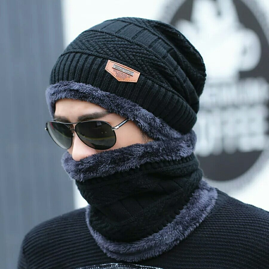 hot selling 2pcs ski cap and scarf cold warm leather winter hat for women men Knitted hat Bonnet Warm Cap Skullies Beanies 4