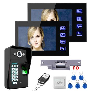 7 #8222 2 monitory rozpoznawanie linii papilarnych wideo telefon drzwi Intercom System Doobell kit + elektryczne strajk zamek + bezprzewodowy pilot zdalnego unl tanie i dobre opinie Domofon CMOS MOUNTAINONE Do Montażu na ścianie Głośnomówiący DIGITAL color Black SY816MJFRENO12 Brak Jednego do dwóch wideo domofon