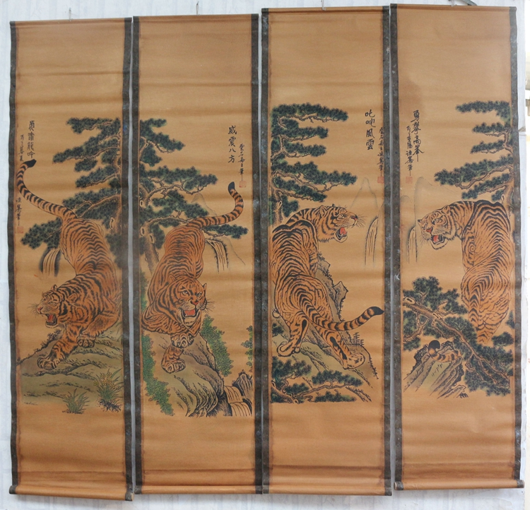 China old scroll painting Four screen paintings Middle hall hanging painting