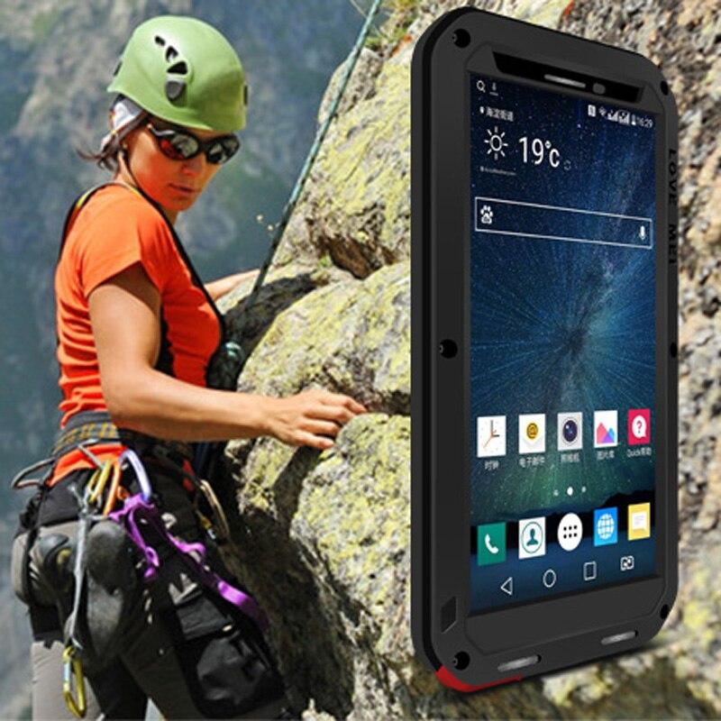 imágenes para AMOR MEI Caso Para LG LG V10 H968 F600L F600K/S 5.7 ''A Prueba de agua A Prueba de Golpes caso del Gorila de Vidrio Templado la Cubierta de Metal duro