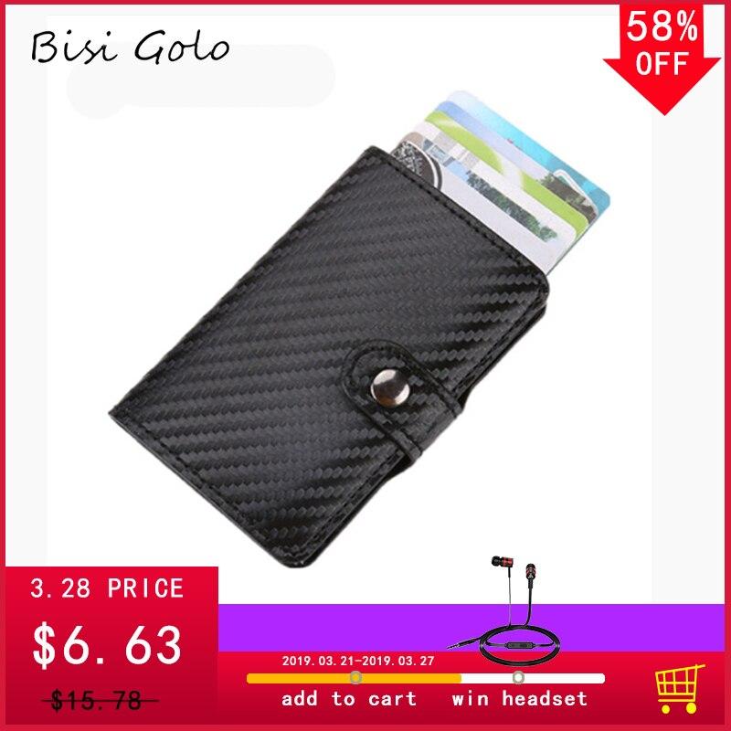 6ee5e3034e2 Carbon Fiber Leather ID Card Holder Aluminum RFID Wallet for female ...
