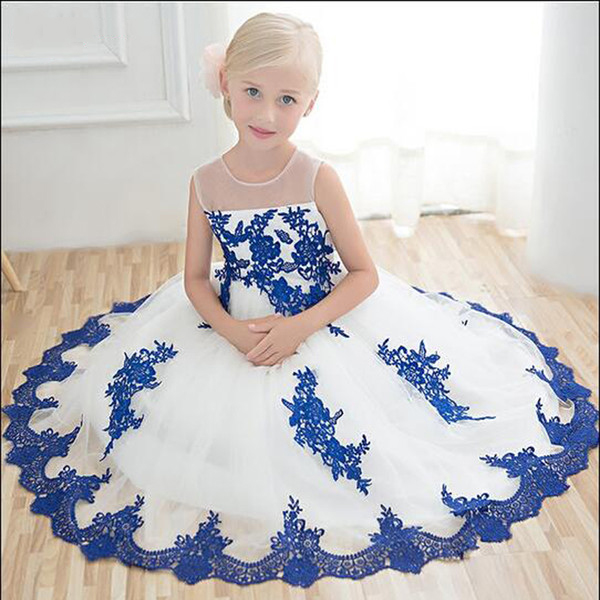 2018   Flower     Girl     Dresses   For Weddings Blue Lace Appliques Cheap Ankle Length Sheer Neck Sleeveless   Girls   Pageant Party   Dresses