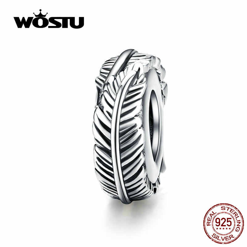 WOSTU Vintage Feather Silicone Spacer Beads 925 Sterling Silver Stopper Fit Original Bracelet Pendant DIY Jewelry Making CQC1236