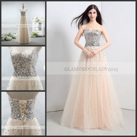 Real Photo Evening Dresses Champagne Sequined Sweetheart Sleeveless Straight Lace Up Floor Length Stock Tulle Casual