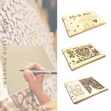 Wooden Bride And Groom Pattern Photo Frame Wedding Guest Book Autograph Album Signature Gift For Couple