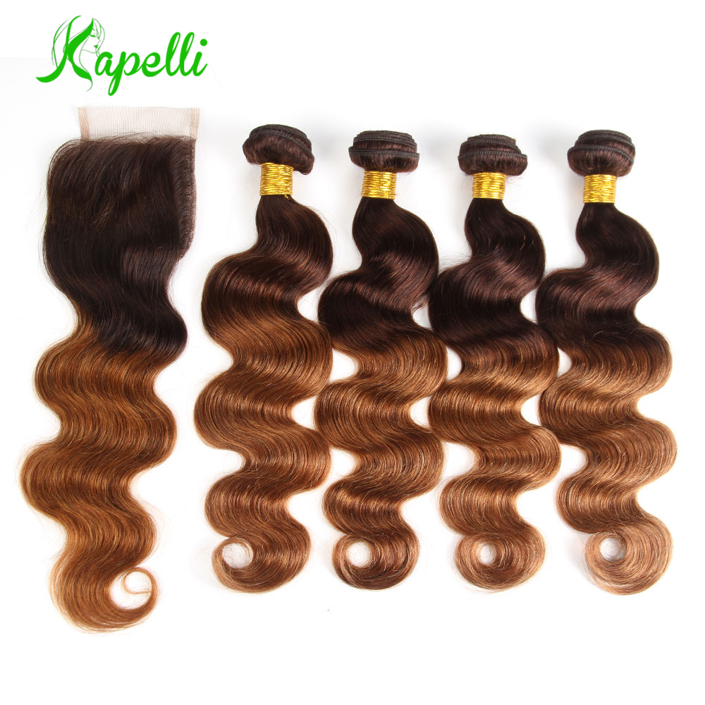 Ombre Body Wave Human Hair Bundles With Lace Closure Honey Blonde Bundles Malaysian Remy Hair 4 Bundles With Closure Free Ship