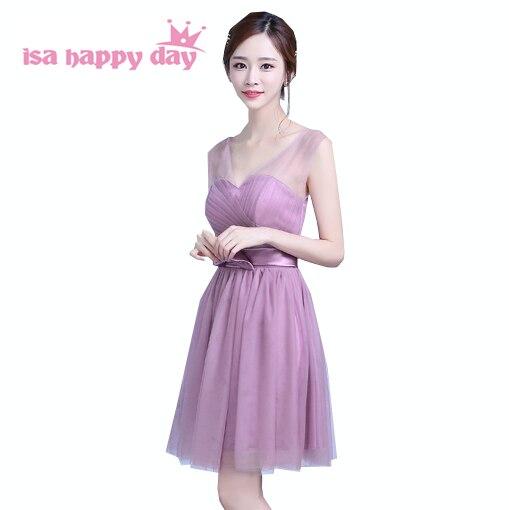 elegant modest v neck girls   cocktail   and party womens celebrity   dresses   fashion 2019 short blush ball gown   dress   H3898