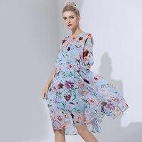 100 Silk Dress Simple Design Print Loose Short Sleeveless Translucent Fabric Summer Beach Clothing New Fashion