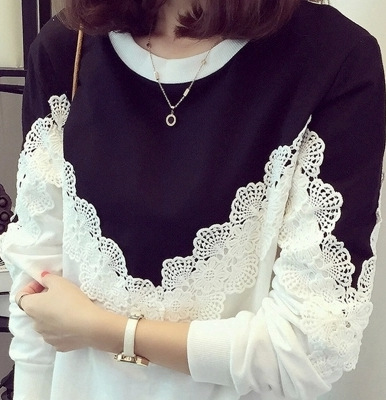 lace woman t-shirt plus size Korean style lace patchwork o-neck long sleeve causal slim bottoming female t-shirt Tees 5