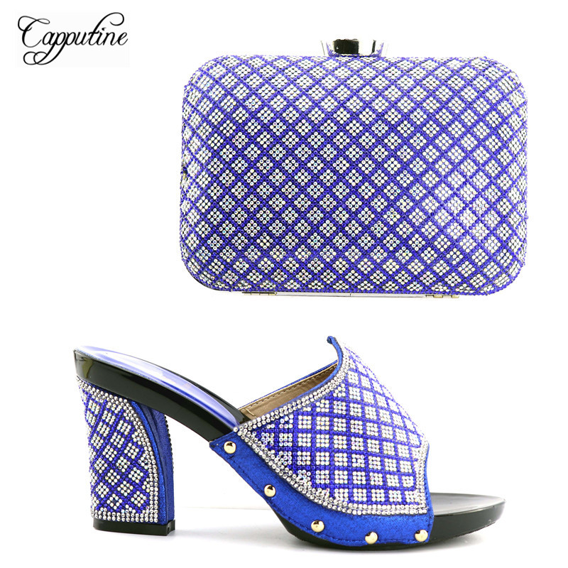 Capputine 2018 African Woman Shoes And Matching Bags Set Italian Rhinestone Pumps Shoes And Bag Set For Party In Women blue magnetic rotation p093 bsk piececool 3d laser cutting jigsaw puzzle diy metal model nano puzzle toys for audlt