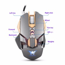 COMBATERWING – Cored Gaming Mouse Mice 7 Buttons 3200 DPI 4 Color Breathing LED Light Ergonomic Wired Mouse Souris For Gamer