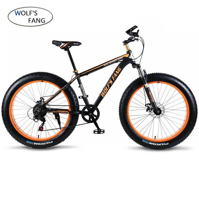 "Lobo fang bicicleta Mountain Bike 7/21 velocidade 26 ""X 4.0"" fat bicicleta bicicletas de estrada Mecânica primavera Garfo Freio a disco rodas De Liga leve moto"