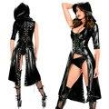 Mujeres Sexy Nightclub Punk Gothic Danza Faux Jumpsuit Fetiche de Látex Catsuit Erótica con capucha Traje De Cuero DS Traje