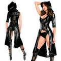 Women Sexy Nightclub Punk Gothic Jumpsuit Fetish Dance   Faux Latex Catsuit Erotic hooded Leather Bodysuit DS Costume