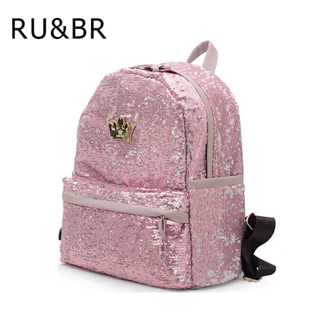 RU&BR New Fashion Travel Backpack For Teenage Girls School Bag Backpack Women Crown Sequin Bags Solid Color PU Leather Shoulders